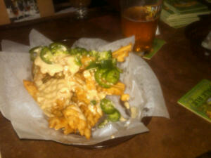 To Die For Fries - Waffle Fries with a Cheddar Beshamel Sauce with Jalepenos.