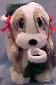 sad dog with stocking