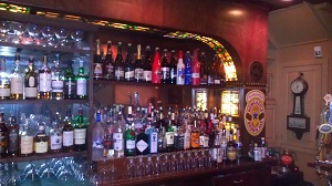 One side of Jessop's back bar.  Note the Belgian beers on the top shelf.