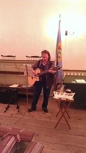 Carol Regan supplying the background music.