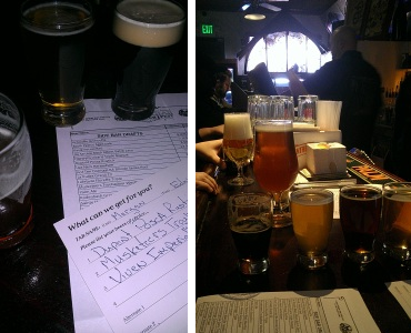 Left : The first card of the day.  Right : The bar begins to fill with Belgian goodness.