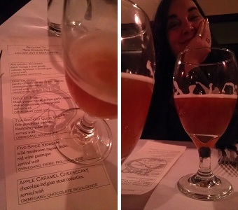 Left : The Dinner Menu.  Right : Tracey waits patiently for me to take a shot so that she can drink  her beer.