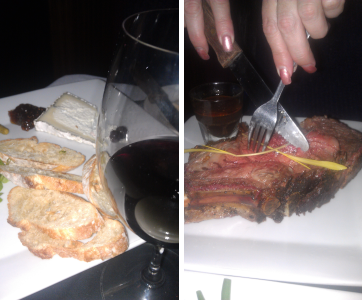 Left: The cheese and bread platter, because a 2lb Prime Rib just isn't enough. Right: The cow.