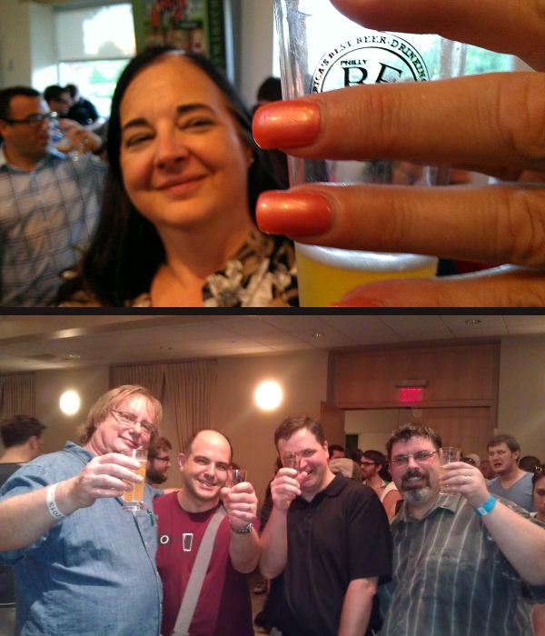 Top: Tracey give a cheers to PBW.  Bottom: A forum of bloggers (L-R) The Dog, G-Lo, LImpD and Crafty