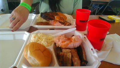 BBQ platter from Mr. BAR-B-CUE, beers by Fordham/Old Dominion