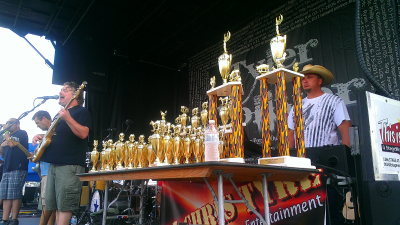 The trophies stand ready as Love, Seed, Momma, Jump finishes their last set.
