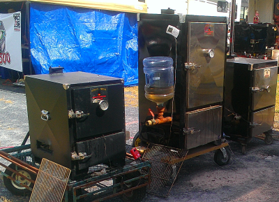 Biker BBQ from Millville NJ uses an adapter to constantly feed apple juice into their smoker.