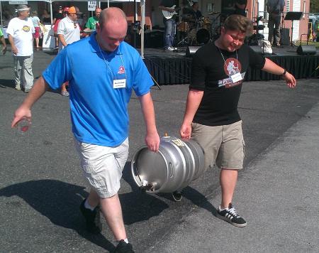 Volunteers delievering a keg...