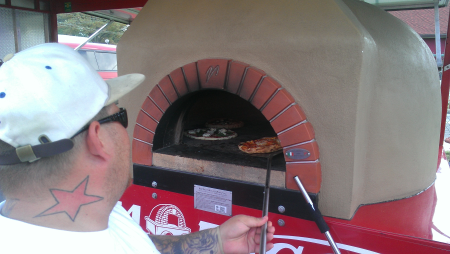 Working the pizza over at the Pizza Wagon