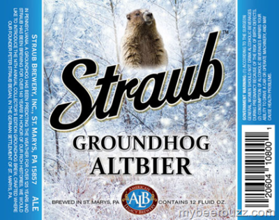Straub Brewing in Saint Marys, PA salutes the groundhog.