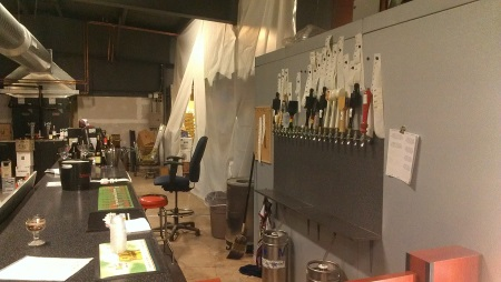 A picture of the new bar and growler station.  As you can tell there was still some work to do at the time this picture was taken.