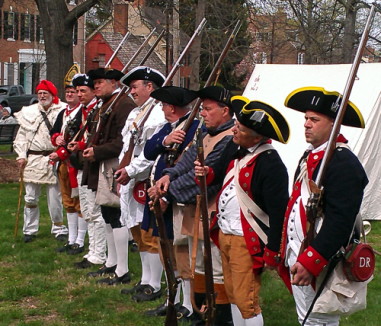 The men stand at ready.