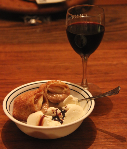 We had homemade egg rolls the other night and when we were done, we had two wrappers left.  So Tracey mixed bananas, peanut butter and a little chocolate sauce; froze the mixture a bit, wrapped, and deep fried it.  Scary good.