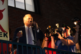 Ex-Mayor/Governor Ed Rendell gives the toast at the Opening Tap. Hey, at least he's not talking about the Eagles.