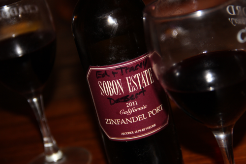 Sabon Estate's Zinfandel Port.  Sharon at Total Wine recommended it to us for a wine dinner when we were asked to bring something that would go good with chocolate cake.  Sharon says that Sabon pairs well with anything chocolate, and in a pinch, Reese's Peanut Butter Cups.