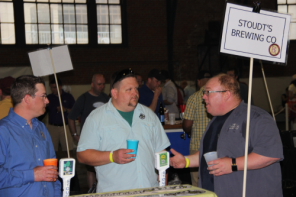 Tom Kehoe(R) of Yards Brewing talking with the guys from Stoudt's