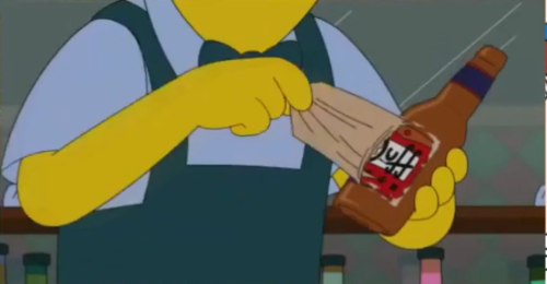 Moe's Tavern owner Moe Szylack rips of a label of Pawtucket Patriot Ale to reveal a Duff label underneath!