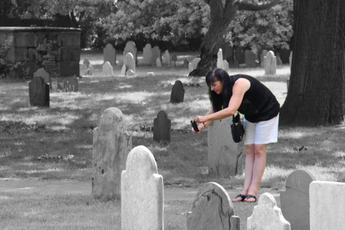 Tracey taking pictures in The Burying Point, which is the oldest cemetery in Salem. It contains the grave of Justice John Hathorne who proceeded over the witch trials.