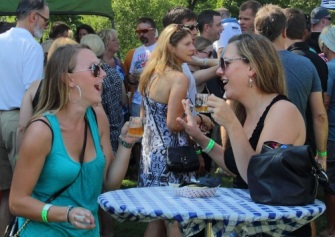 A couple of ladies chatting at the Odessa Brewfest.