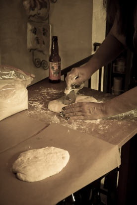 Tracey has decided to start making bread. Here she is working on her first loaves of chibatta bread.